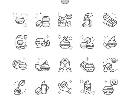 Macarons cakes Well-crafted Pixel Perfect Vector Thin Line Icons 30 2x Grid for Web Graphics and Apps. Simple Minimal Pictogram