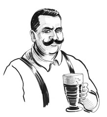 Gentleman with mustache holding a glass of beer. Ink black and white illustration