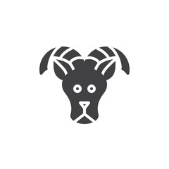 Aries zodiac vector icon. filled flat sign for mobile concept and web design. Sheep, ram solid icon. Symbol, logo illustration. Pixel perfect vector graphics