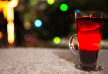 mulled wine on the table late in the evening