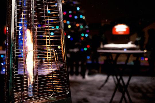 Gas heater on winter terrace