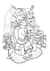 Lucky Pig. Black outline coloring book. 2019 Chinese New Year of the Pig. Christmas greeting card. Handmade illustration, piggy unpacks gifts under the Christmas tree. Christmas card, poster, calen