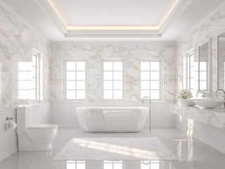 Luxury white bathroom 3d render. There are white tile floor and marble wall.The room has more windows. Sunlight shining into the room