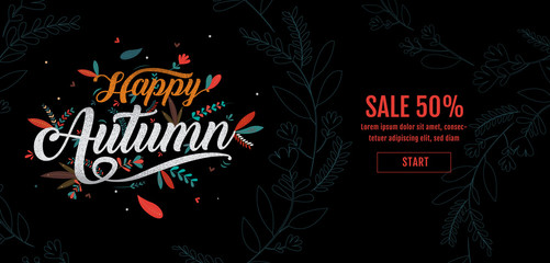 Autumn, Happy Thanksgiving typography poster. Celebration text , badge. Vector calligraphy ,Banner template sale.