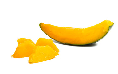mango slices isolated