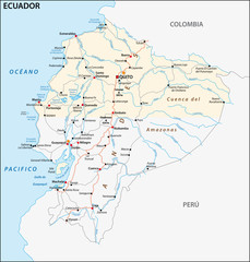 The republic of Ecuador road vector map