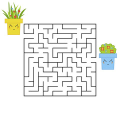 Abstract square maze. An interesting and useful game for children. Find the path from the flower to the flower. Simple flat vector illustration isolated on white background.