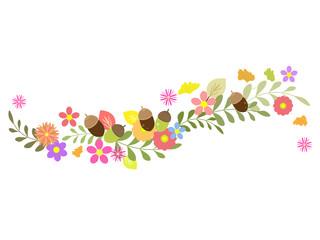 お花とどんぐりと葉っぱのライン