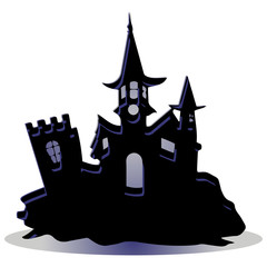 Dark castle, design for the holiday of Halloween, on a white background,