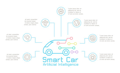 Smart car Technology comcept template infographic vector illustration graphic design