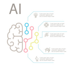 AI, Artificial intelligence Concept  Infographic template in thin line style