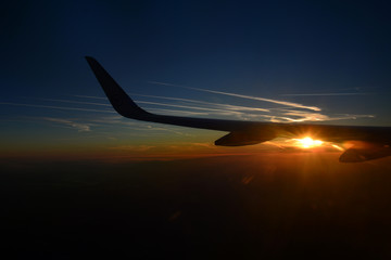 sunset in aeroplane