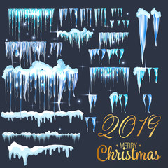 2019 Snow with icicles and snow drifts. Winter snow caps with ice. Set of different blue and white snowy frames for decoration. Vector