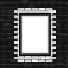 Photo frame, realistic photo frame on a brick wall background. Flat design, vector illustration.