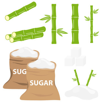 Sugar, bag of sugar, sugarcane. Flat design, vector illustration, vector.
