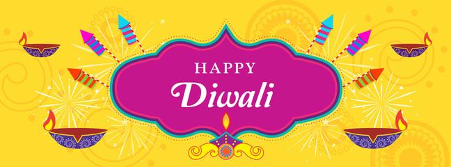 Happy Diwali Vector illustration, Diwali diya (oil lamp) with fireworks. Design for Social media header templates.