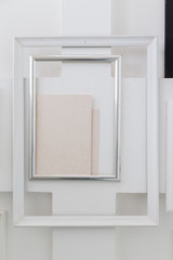 abstract overlay empty vintage retro old rectangle white picture frame on wall.