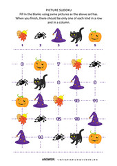 Halloween festival themed picture sudoku puzzle 5x5 (one block) with pumpkin, black cat, spider, autumn leaves, witch's hat. Answer included.