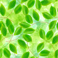 A seamless pattern of green leaves and branches on a green background, a vibrant repeat print