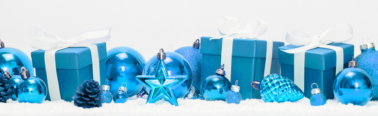 Fotomurales - Blue christmas holidays decoration on a white background