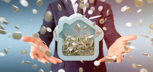 Man holding a House moneybox with coin surrounding all over 3d rendering
