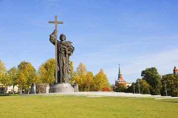 Moscow, Russia, Monument to St. Vladimir the Great. The monument to Vladimir the Great is a monumental structure erected on Borovitskaya square in Moscow