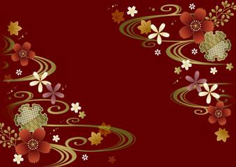 秋の渋い和柄