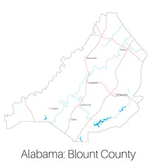 Detailed map of Blount county in Alabama, USA