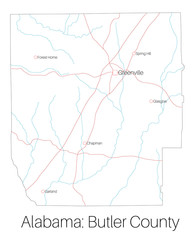 Detailed map of Butler county in Alabama, USA