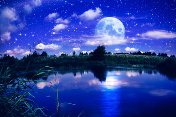 Canvas Prints Dark blue Full moon over river