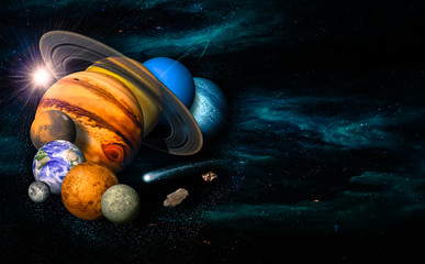 Solar system eight planets, comet and asteroid.  Mercury, Venus, planet Earth, Mars, Jupiter, Saturn, Uranus, Neptune. Science and education background. Elements of this image furnished by NASA.