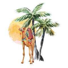 Watercolor camel and palm vector composition