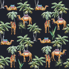 Watercolor camel and palm vector pattern