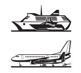 Passenger transport by sea and by air - vector illustration