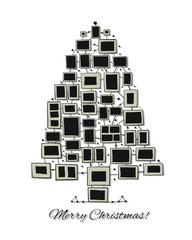 Christmas tree made from photo frames, greeting card for your design