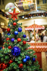Photo of Christmas decorated with colorful balls of fir in store