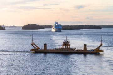 Cruise liner leaving Stockholm port. Sweeden.