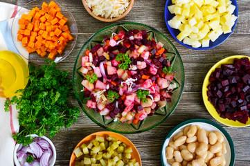 "Prepared ingredients for cooking vegetables salad. ""Vinaigrette"" - vitamin vegetarian salad."