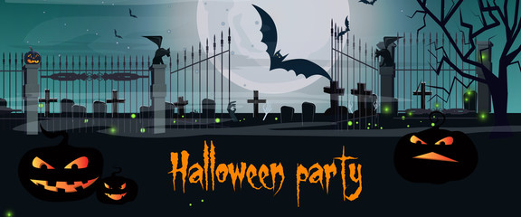 Halloween party lettering with cemetery gates and pumpkins. Invitation or advertising design. Handwritten text, calligraphy. For leaflets, brochures, invitations, posters or banners.