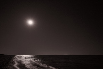 Image of the shore of the sea in the light of the moon.