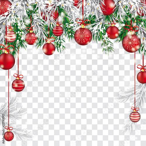 Christmas Header Transparent.Christmas Frozen Green Fir Twigs Red Baubles Transparent