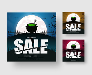 Web banner template for a Halloween sale with a cauldron of a boiling green witch potion and a broom.