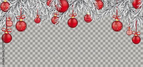 Christmas Header Transparent.Christmas White Header Frozen Fir Twigs And Baubles
