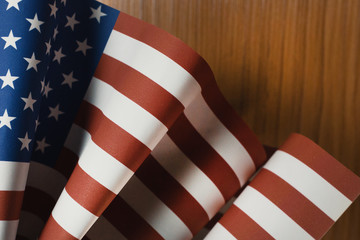 The Veterans Day  concept united states of America flag on wood background.