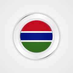 Gambia flag in glossy vector icon.
