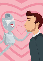 Cyber lover. A robot and a man. Illustration of how artificial intellect could replace or pretend to be your soulmate, combining characteristics, which you love in the partner and excluding bad ones