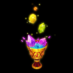 The Crystals Are Dissolving in the Holy Grail. Game Assets, Card Object isolated on Black Background. Video Game's Digital CG Artwork, Concept Illustration, Realistic Cartoon Style  Design