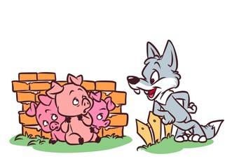 Good Wolf Three Little Pigs Tale cartoon illustration