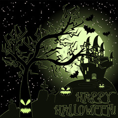 Happy Halloween greeting card, vector illustration