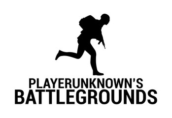 Silhouette of a running soldier, in uniform with weapons and the inscription, playerunknown's battleground. Vector illustration